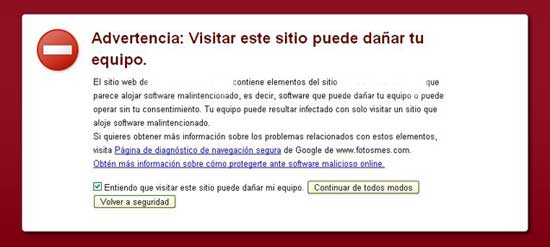 Advertencia Software Malintencionado